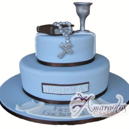 Two Tier Communion Cake - Amarantos Designer Cakes Melbourne