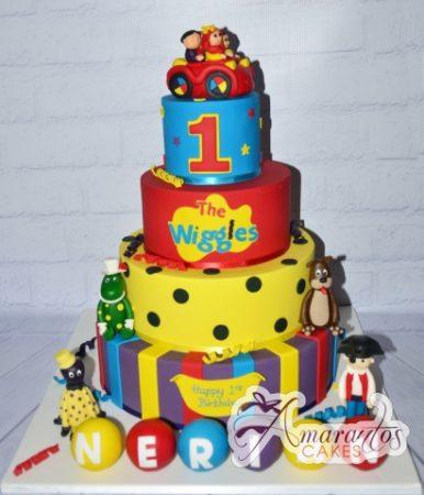 4 tier custom Wiggles birthday cake