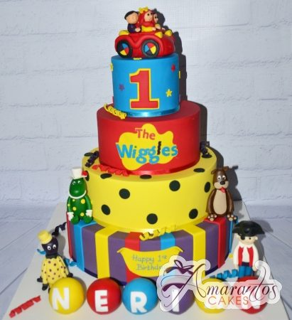 4 tier custom Wiggles birthday cake