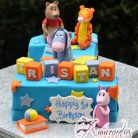 Number One With Pooh Bear Cake - Amarantos Designer Cakes Melbourne