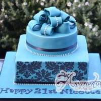 Two Tier Design Cake Blue - Amarantos Designer Cakes Melbourne