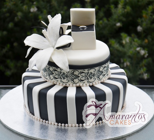 two tier black and white cake AC196