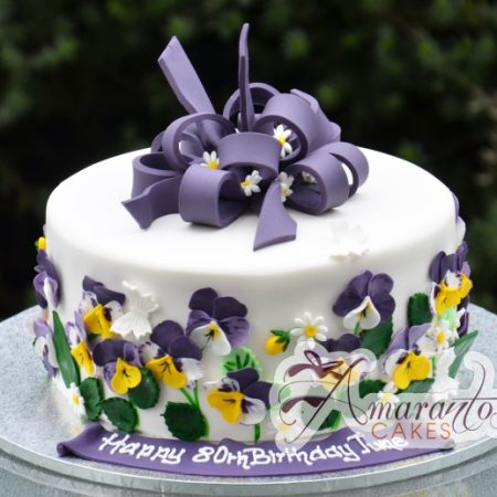Round Cake with Sugared Flowers - Amarantos Designer Cakes Melbourne