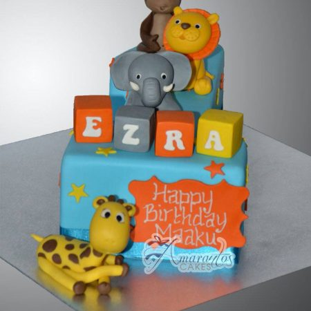 Number One with Jungle Animals - Amarantos Cakes Melbourne