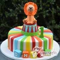 Rainbow circus birthday cake - Amarantos Designer Cakes Melbourne