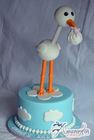 Round Cake With Stork - Amarantos Designer Cakes Melbourne