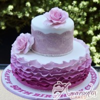 Two Tier with Lace Cake - Amarantos Custom Made Cakes Melbourne