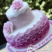 Two Tier with Lace Cake - Amarantos Designer Cakes Melbourne
