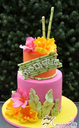 Two Tier Tropical Design Cake - Amarantos Custom Made Cakes Melbourne
