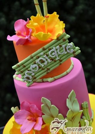 Two Tier Tropical Design Cake - Amarantos Designer Cakes Melbourne