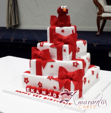 Four Tier Elmo Cake – AC317 – Amarantos Celebration Cakes Melbourne