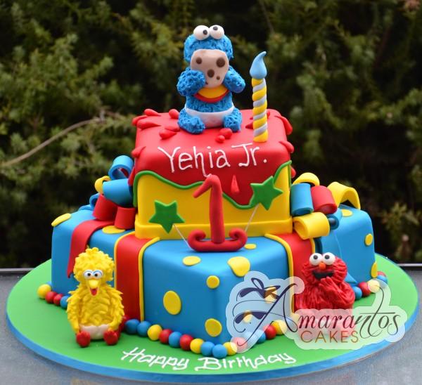 Two tier Sesame Street Cake NC13 Amarantos Cakes