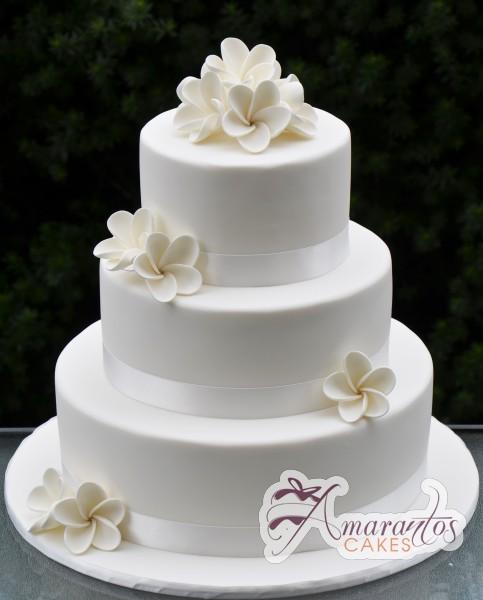 Three Tier Wedding Cake With Frangipani WC72