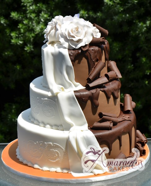 half and half wedding cake three tier half and half cake wc73 amarantos cakes 15039